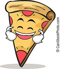 faccia, ridere, carattere, cartone animato, pizza