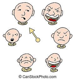 faccia, set, espressione, umore, icona