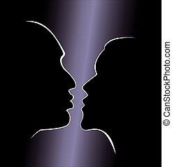 faccia, silhouette