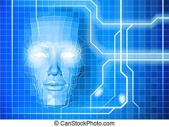 faccia, tecnologia, fondo, concetto