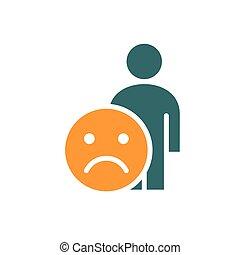 faccia, umano, insoddisfatto, colorato, infelice, ...