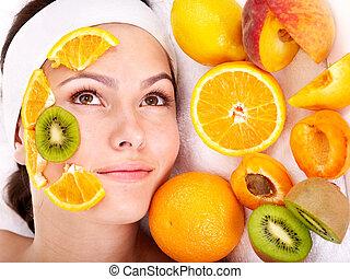 facciale, frutta, naturale, maschere, casalingo