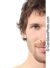 facciale, primo piano, di, uno, mezzo, attraente, faccia uomo