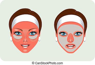 facciale, ringiovanimento, (mask)