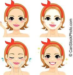 facciale, trattamento bellezza