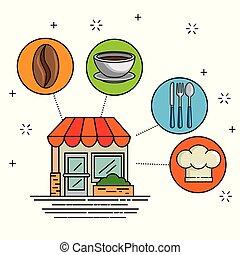 facciata, cartone animato, ristorante