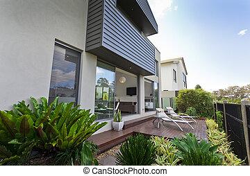 facciata, casa, moderno