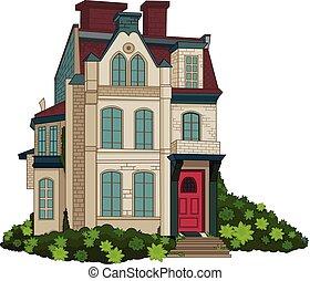 facciata, casa, vittoriano