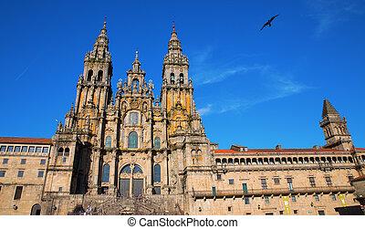 facciata, cattedrale, santiago