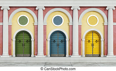 facciata, colorito, classico