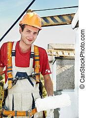 facciata, costruttore, lavoratore, pittore