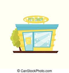 facciata, di, coccolare, shop., negozio, di, animale, goods., costruzione commerciale, con, cartello, bicchiere grande, finestra, e, door., cartone animato, vettore, icona