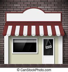 facciata, di, il, costruzione, negozio, con, uno, cartello, e, uno, showcase.