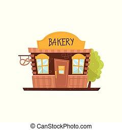 facciata, di, panetteria, shop., negozio, con, grande, cartello, porta legno, e, due, windows., pubblico, città, costruzione., cartone animato, vettore, icona