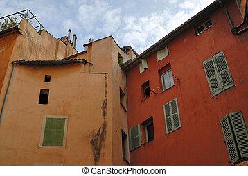 facciata, di, residenziale, casa