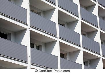 facciata, di, uno, residenziale, costruzione