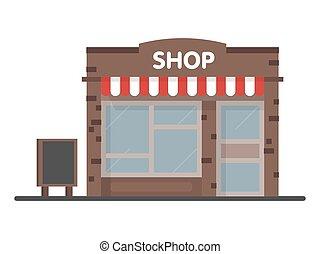 facciata, negozio, negozio, icona, con, signboard., sagoma, concetto, per, il, sito web, pubblicità, e, vendite