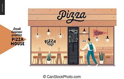 facciata, piccolo, ristorante, casa, -, affari, grafica, pizza