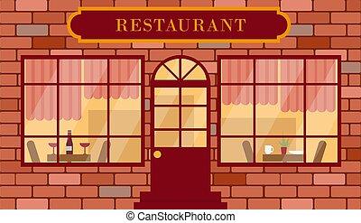 facciata, ristorante, dettagliato, illustration., vettore