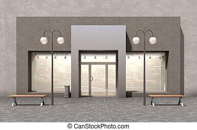 facciata, store;, illustrazione, 3d