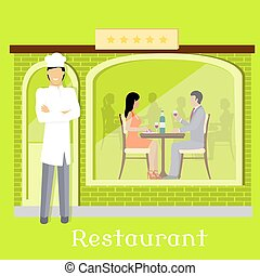 facciata, urbano, clienti, ristorante