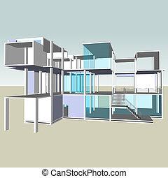 facciata, vetro, architettura
