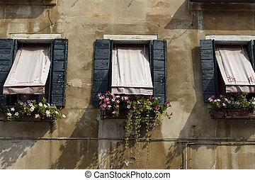 facciata, vista, di, vecchio, storico, tipico, costruzione, in, venice., immagine, mostra, architettonico, stile, di, region.