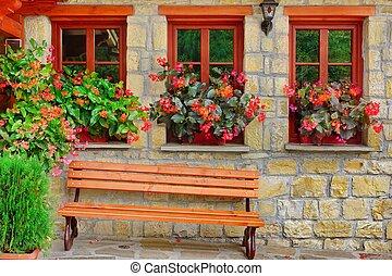 facciata, windows, pietra, tre