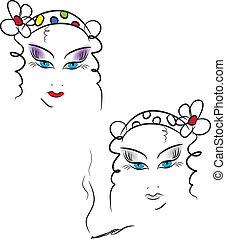 face., ベクトル, 美しさ, イラスト, 女性