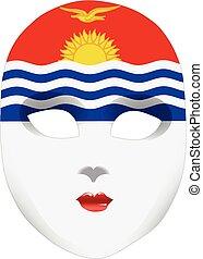 face abstrata, máscara, com, a, bandeira, de, kiribati