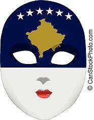 face abstrata, máscara, com, a, bandeira, de, kosovo