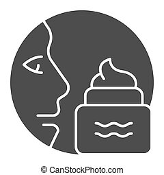 Face and cream solid icon. Skin care vector illustration isolated on white. Ointment for face glyph style design, designed for web and app. Eps 10.