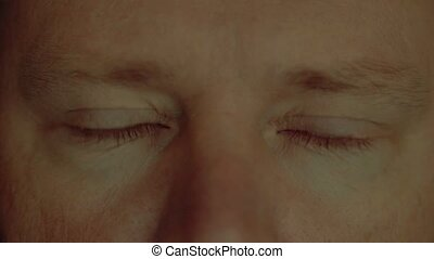 Face and eyes of a man close up, slow motion