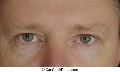 Face and eyes of a man close up