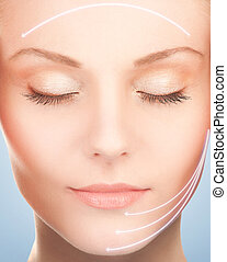 face and hands of beautiful woman - picture of beautiful...