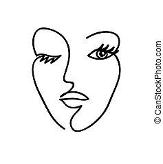 face., art., 女, イラスト, 白, アウトライン, 手, ベクトル, 抽象的, 黒, 線, 引かれる