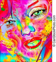 face., astratto, colorito, womans