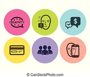 Face attention, Payment received and Group icons set. Creativity, Credit card and Face biometrics signs. Vector