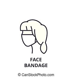 face bandage thin line icon, sign, symbol, illustation, linear concept, vector