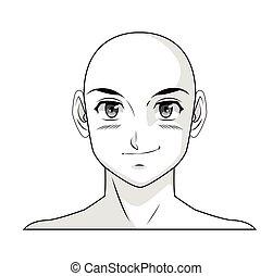 face boy anime manga comic bald outline
