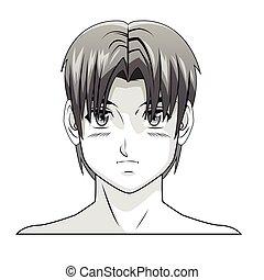 face boy anime manga comic hair style