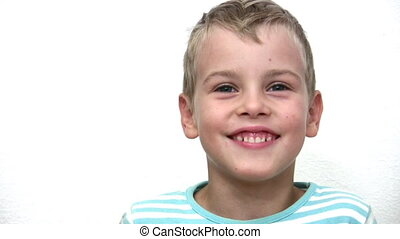 Face boy child on white