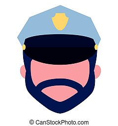 face character policeman with hat