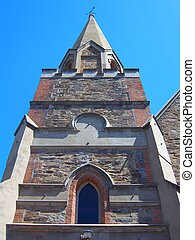 Face church - A face shot from the base of a church in ...