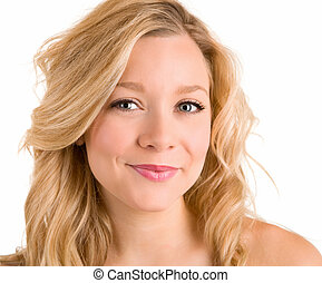 Face Close-up of a Beautiful Blonde Isolated on White