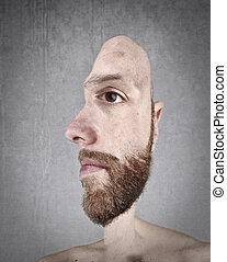 Face conception of bearded man