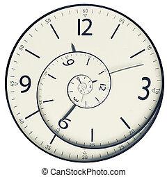 face., concepto, torcido, reloj, tiempo