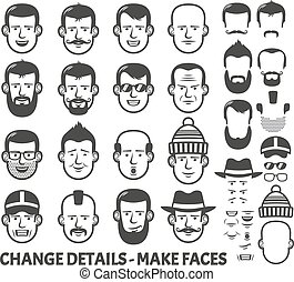 face constructor - Men head and face constructor. All parts...