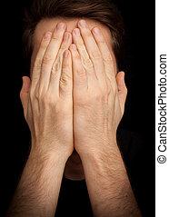 face couverture, –, mains, dépression, homme