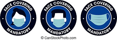face covering mandatory icons sign covid-19 protection male ...